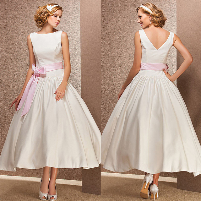 f78390efd93d Vintage Short Ivory Satin Wedding Dresses Boat Neck Tea Length Wedding Dress  With Pink Ribbon Ball Gown Bridal Dresses PA54