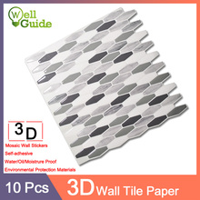 10pcs Wall paper 3D Black Grey Marble Brick Self-Adhesive Stickers Waterproof DIY Kitchen Bathroom Home Decal Sticker