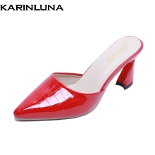 Karinluna Ins Fashion Hot Sale Pointed Toe Slip On Party Pumps Mules Woman