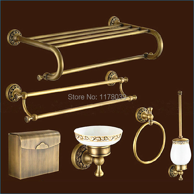 Carved Europe style bronze bathroom hardware,antique brass ...