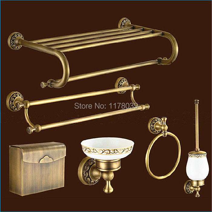 Carved Europe Style Bronze Bathroom Hardware,antique Brass Bathroom  Accessories Sets,Free Shipping J15287