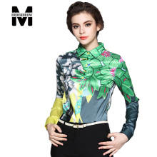 Merderheow New 2017 Spring Fashion Europen Style Printed Floral Women Chiffon Blouse Shirt Ladies Casual Long Sleeve Tops L16