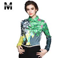 New Europe 2016 Summer Women S Temperament Printing Floral Blouses Shirts Casual Chiffon Clothing Tops Women