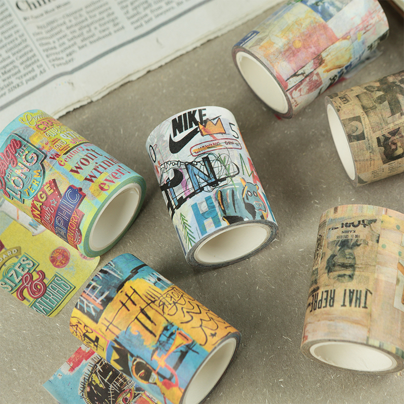 original paper tape and graffiti collage hand painted DIY hand-painted decorative art account retro packaging stationery tape diy 15 tones hand cranked music box movement with hole puncher and paper tape