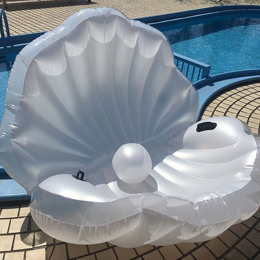 Giant Pearl Scallops Inflatable Pool Float Shell Mattress Lounger With Handle And Pearl Ball Water Sofa Party Toys Swimming Ring in Pool Rafts Inflatable Ride ons from Toys Hobbies