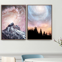 Posters And Prints Mountain Forest Sky Landscape Canvas Painting Art Nordic Poster Wall Pictures For Living Room Office Decor