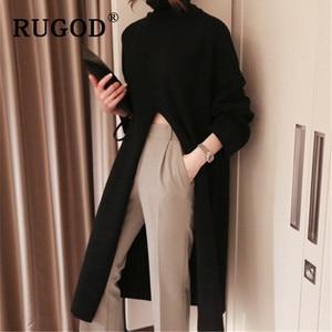 Image 4 - RUGOD Ins new fashion high split women sweater turtleneck Long sleeve warm wintere pullovers female Korean long style streetwear