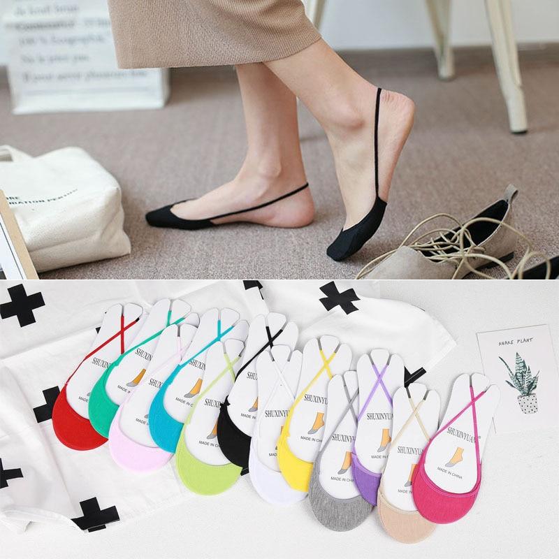Летние кружевные носки-лодочки из силикагеля для женщин и девочек, невидимые Нескользящие тапочки с хлопковой подошвой, нескользящие носки...