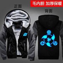 Anime Hoodie Winter Coats NARUTO Hoodie Jackets Luminous Hooded Zipper Hoodie Men Thick Cardigan Sharingan Harajuku  Streetwear