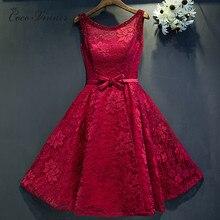 C.V 2018 new short design Lace Cocktai dresses With Sashes plus size lace  up back formal dress women vestido de festa E0019 1af36858f5ce