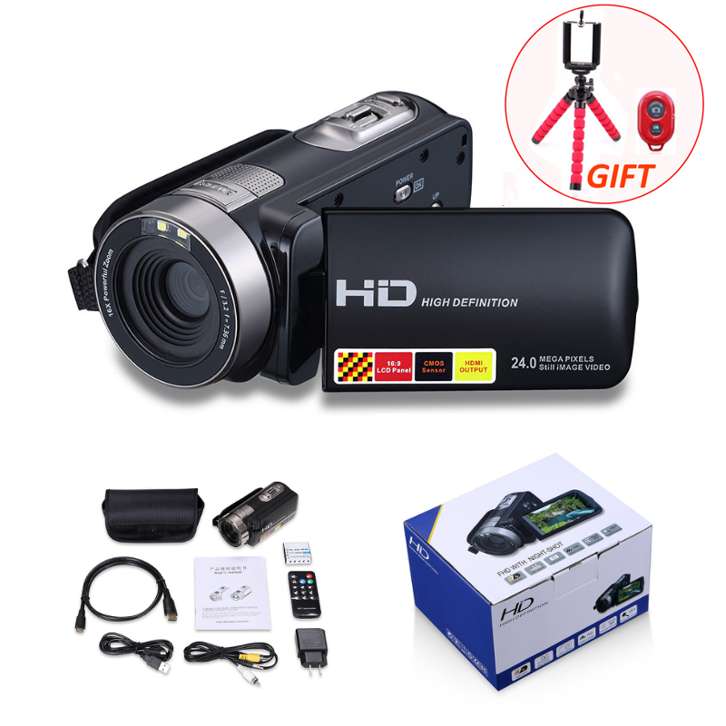 HD Digital Camera Professional 16X Zoom Digital Video Camera Camcorder Photo DSLR Camera DV 3.0 LCD Touch Screen with Remote