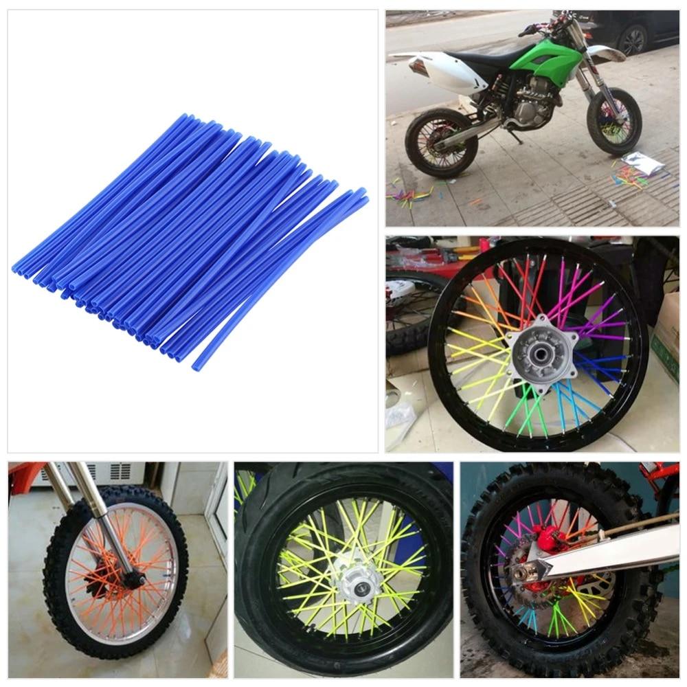 White Motorbike Rims,36Pcs Dirt Bike Enduro Wheel Motocross Spoke Skins Rims Covers Road Guard Wraps Coats