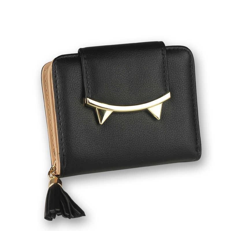 2018 корейский милый кот аниме кожаный тройной бумажник тонкий мини-кошелек женский маленький клатч женский кошелек для монет и карт держатель доллар клатч