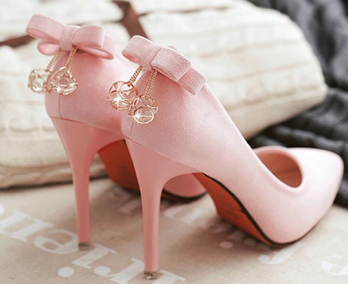 ФОТО Women Bow High Heels With Rhinestone Pendant New 2017 Ladies Pointed Toe Pink Pumps Korean Fashion Thin Heel Shoes