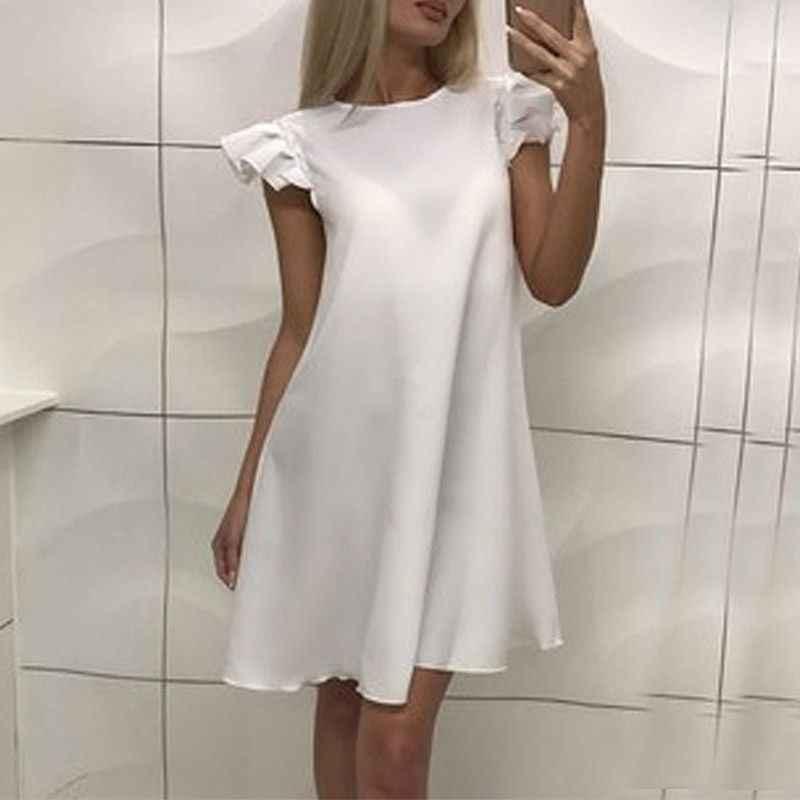 ... Women Summer Sexy Dress Wrinkles Lotus Sleeves Dress Casual Above Knee Mini  Dress Vestidos Cute Sasha ... f0dcb40f126c