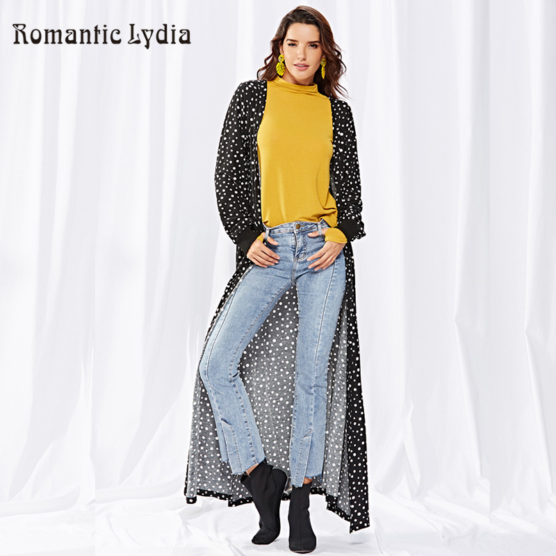 Women Casual Polka Dotted Long Maxi Coat Cardigan Autumn Winter Knitted Cardigan Loose Outwear Jacket Coat