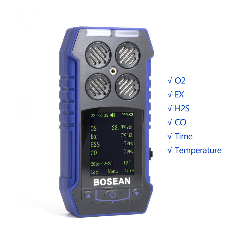 Gas Detector Oxygen O2 H2S Carbon Monoxide CO Flammable 4 in 1 Gas Analyzer Monitor Toxic Gas and Harmful Gas Leak Detector
