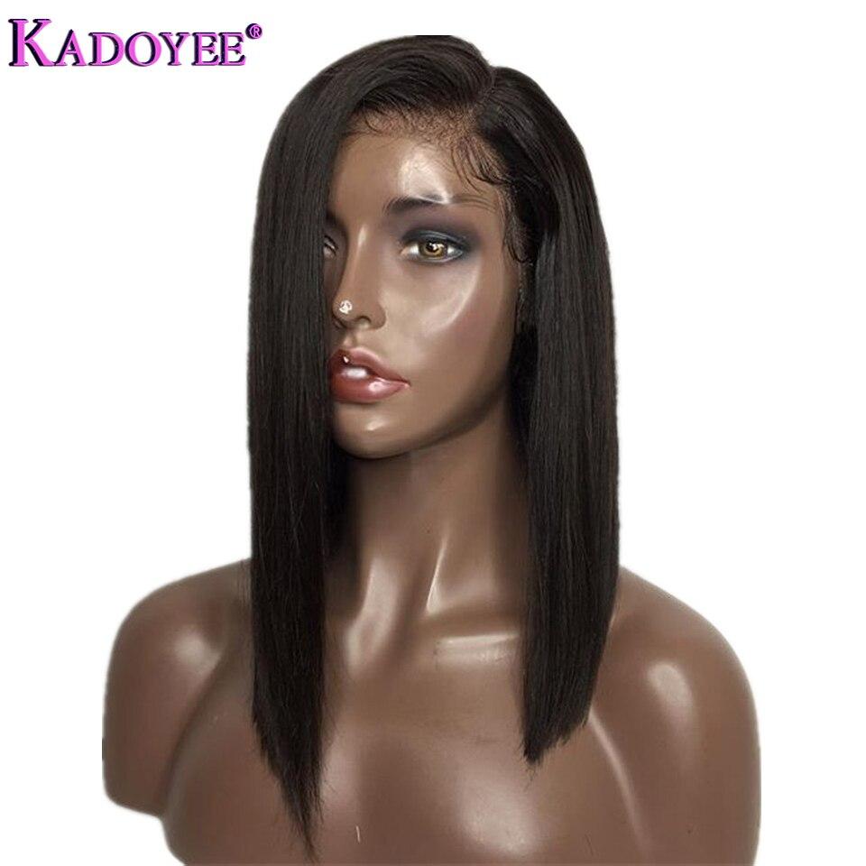2019 côté partie dentelle avant cheveux humains perruques brésilien Remy cheveux droite courte Bob perruque avec bébé cheveux pré plumés pour les femmes noires