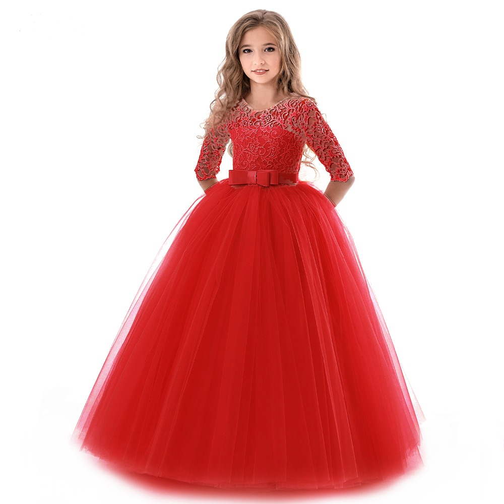 HTB1emsSd21H3KVjSZFBq6zSMXXaQ New Princess Lace Dress Kids Flower Embroidery Dress For Girls Vintage Children Dresses For Wedding Party Formal Ball Gown 14T