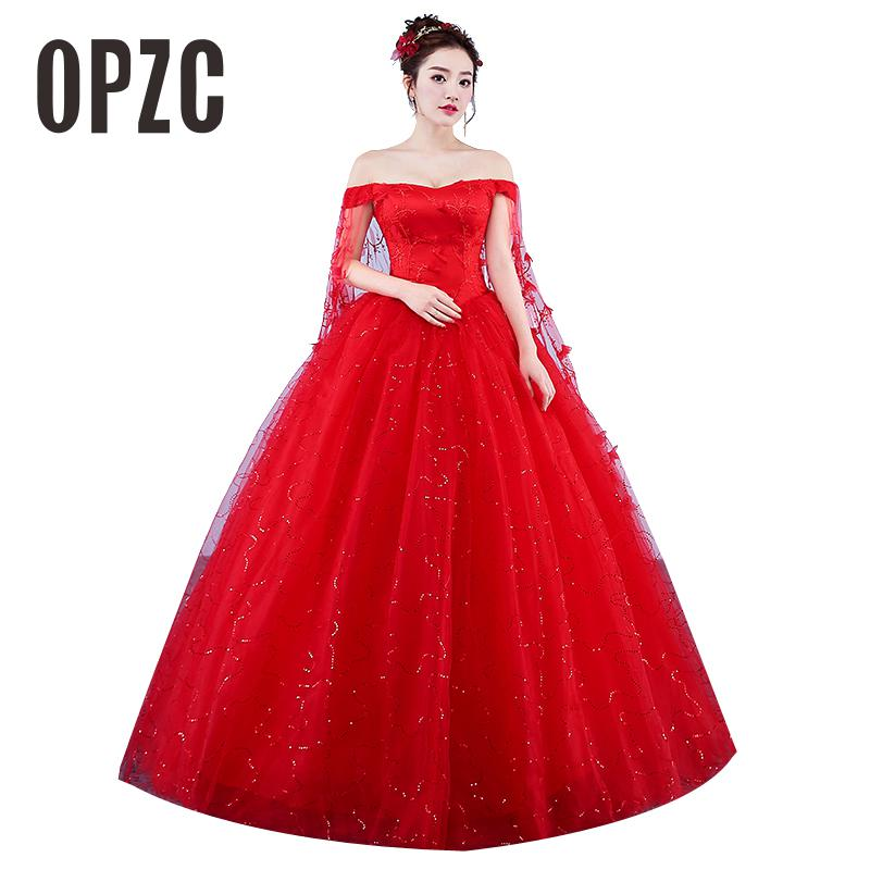 Custom Made Wedding Dresses 2018 New Red Romantic Bride Dress Plus Size Sweetheart Princess Gown Embroidery