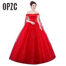 فساتين زفاف مصنوعة حسب الطلب 2020 فستان العروس الأحمر الرومانسي الجديد بالإضافة إلى حجم الحبيب الأميرة ثوب التطريز Vestido De Novia