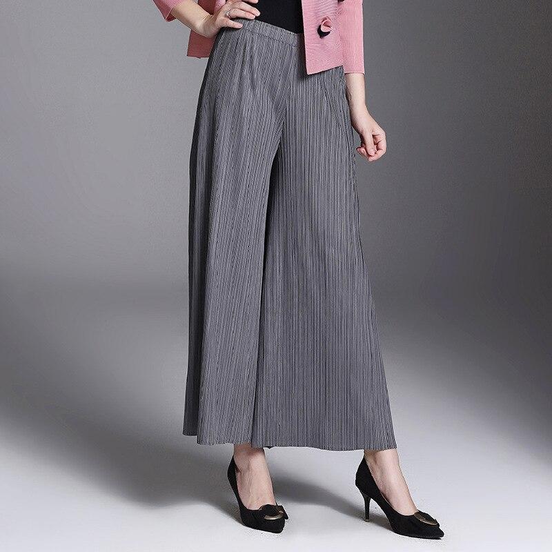 Pierna Color Suelta Falda Mujeres Largos Black Otoño Pantalones grey Sólido Invierno Las De wXRRT0