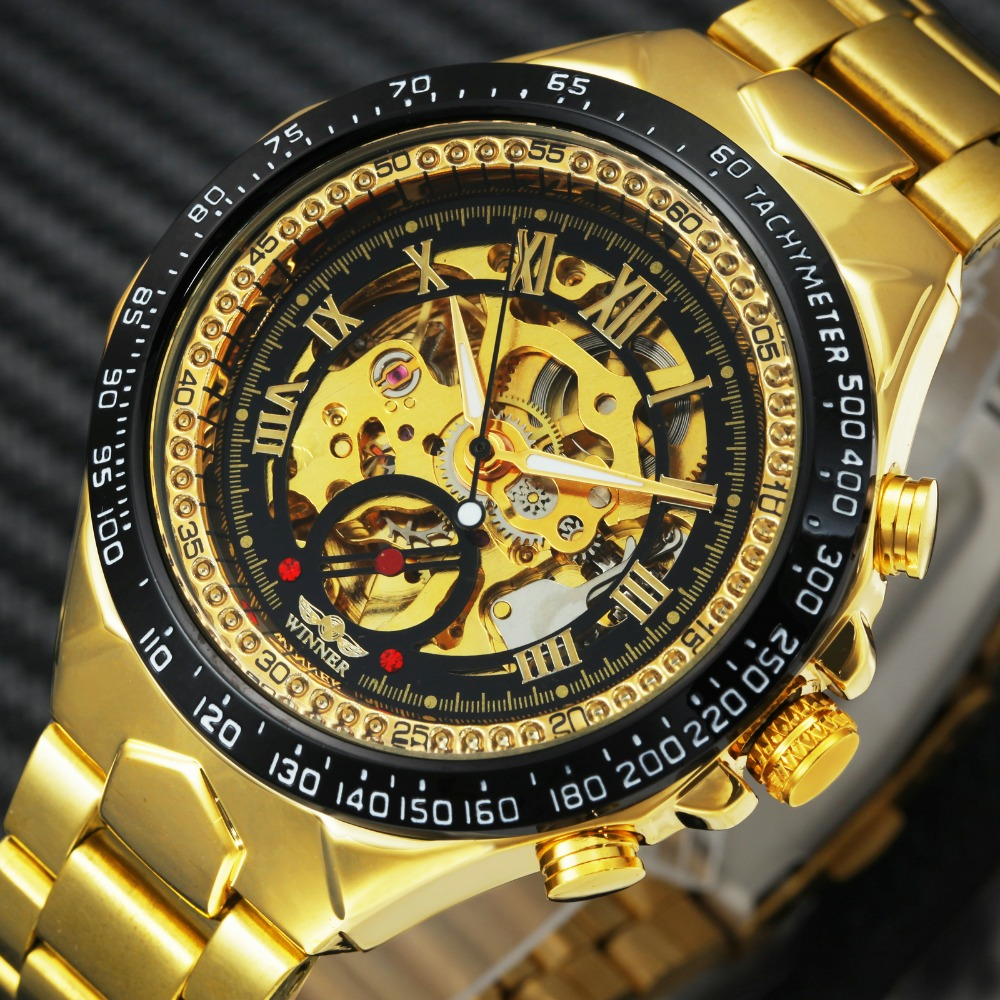 2018 T-WINNER Men Watch Automatic Mechanical Wristwatch Top Luxury Brand Golden Metal Strap Male Skeleton Clock Hot Fashion Gift winner luxury ultra thin golden men auto mechanical watch mesh strap bird pattern skeleton dial top fashion style wristwatch