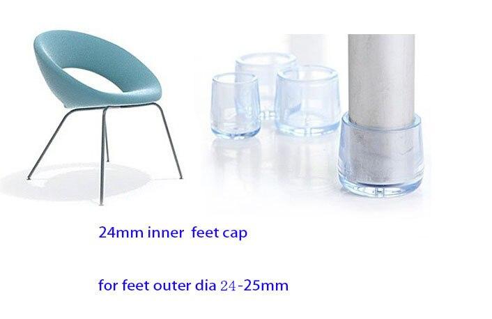 24mm transparent chair feet leg cap cover pad PVC clear