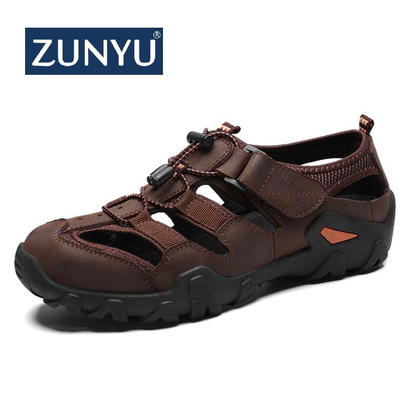 ZUNYU Men Shoes Slippers Sandals Large-Size Genuine-Leather Casual Soft Fashion Summer