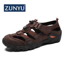 ZUNYU Homens Casuais Sandálias de Couro Genuíno Macio Sapatos de Verão Novo Tamanho Grande 38-48 Homem Sandálias Homens Sandálias Da Moda sandálias Chinelos