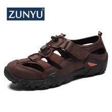 Zunyu casual sandálias de couro genuíno dos homens sapatos de verão novo grande tamanho 38 48 homem sandálias de moda sandálias chinelos