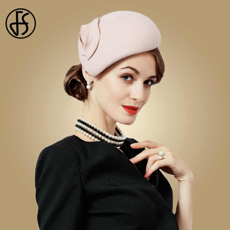 FS Wool Fascinator Hat For Women Felt Pink Pillbox Hats Black Ladies Vintage Cocktail Fashion Wedding Derby Fedora Chapeau Femme