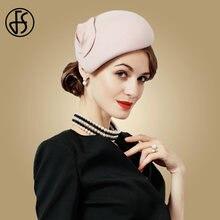 FS Fascinator sombrero de fieltro de lana de las mujeres rosa sombreros  mujer negro de cóctel Vintage de boda de moda Derby Fedo. d31d3205507