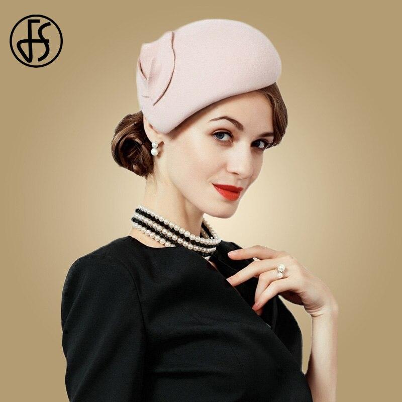 FS Fascinator sombrero de fieltro de lana de las mujeres rosa sombreros  mujer negro de cóctel Vintage de boda de moda Derby Fedora Chapeau Femme fccb2af81496