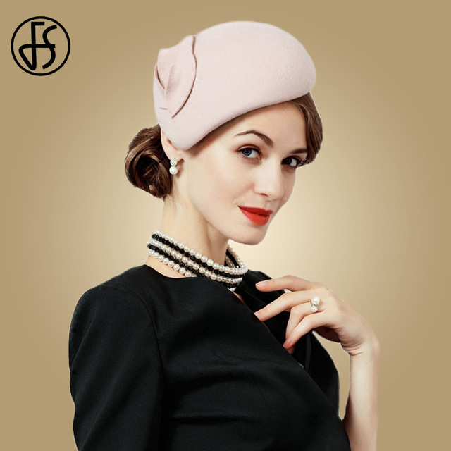 FS قبعة من الصوف الأبيض الفاسناتور للنساء ورأى الوردي قبعات دائرية سوداء السيدات خمر موضة الزفاف دربي فيدورا فاتحة فام