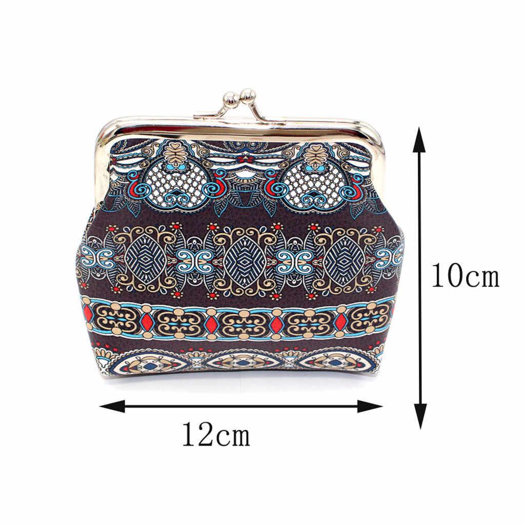Hasp bolsa da moeda da mulher Cartão Chave Mini Bolsa curto Carteira senhoras Retro Vintage étnico Imprimir Clutch Bag pacote de dinheiro Monedero