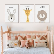 Cartoon Animal Canvas Art Print And Poster Of Rabbit Elephant Lion Giraffe Fox , Nursery Wall Art Decor Cartoon Canvas Painting
