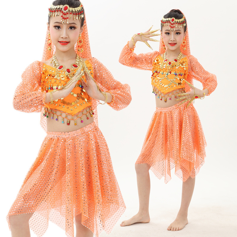 Original Belly Dance Suit For Girl Red Orange Blue <font><b>Tops</b></font>+Skirt <font><b>Bollywood</b></font> Clothes Comfort Children Femine Ballroom Garments Q4018 image