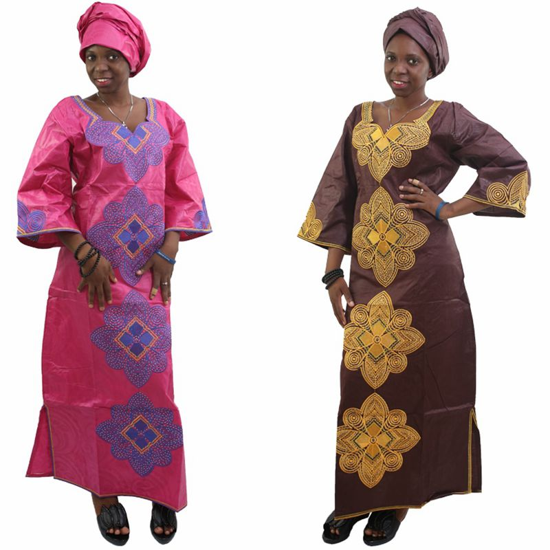 H&D New Fashion African bazin riche dress for women Cotton 100% Cloth With Gele Georges Kaftan Lady Long Dress S2427 ...