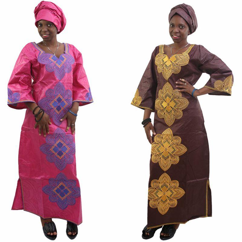 H & D Ny mote Afrikansk bazin riche kjole for kvinner Bomull 100% - Nasjonale klær - Bilde 4
