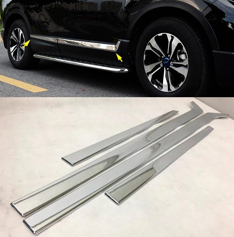 MONTFORD Car Styling Stainless Steel Auto Bottom Side Door Body Frame Mouldings Protective Sticker For Honda CRV CR V 2017 2018