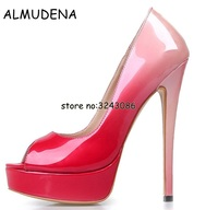 New Patent Leather Stiletto High Platform Pumps Peep Toe Top Quality Sexy High Heels Night Club Dance Shoes Woman Fashion Shoes