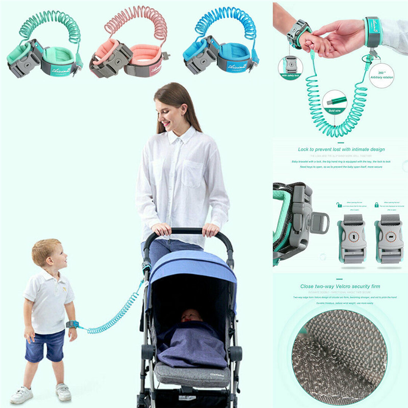 1.5 / 2.5M Kids Baby Safety Anti Lost Wrist Link Lock Harnesses & Leashes Traction Rope Newborn Baby Kids Safety Harness Leashes