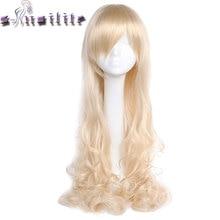 С-noilite девушку парик волос 80 см парик термостойкие женские черные русый Фиолетовый Красный синтетический парики вьющиеся длинные с челкой