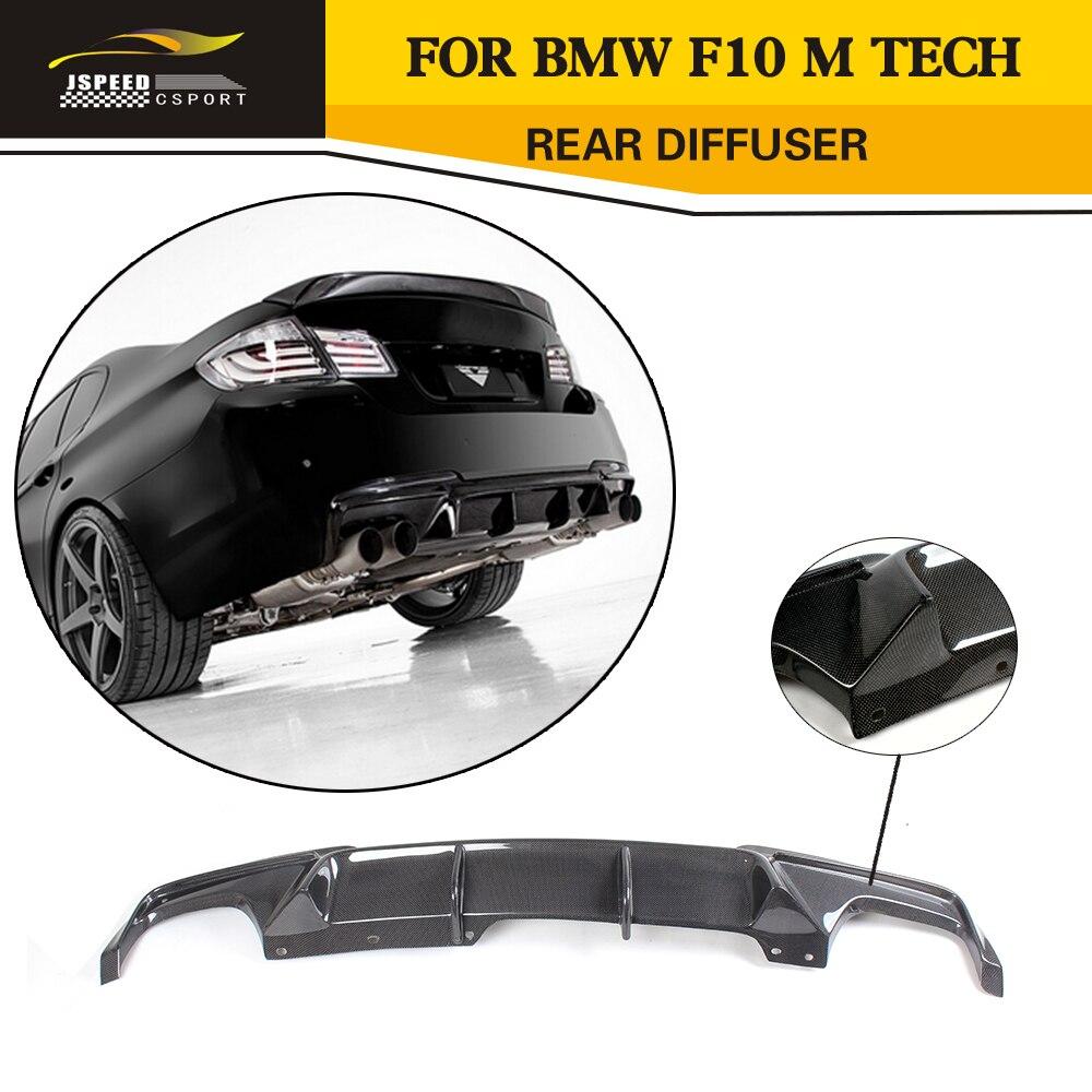Car Style Carbon Fiber Rear Diffuser Lip For BMW F10 5 Series M Sport Bumper Sedan 2011-2014