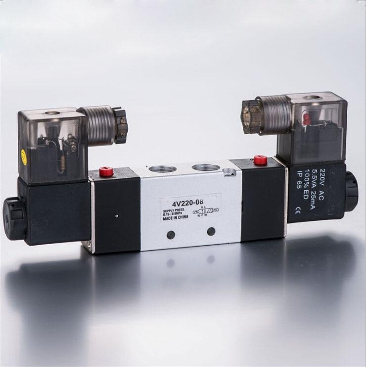 Pneumatic Control Valve 4V220-06 AC 220 2 Position 5 Way 1/8 BSPT Air Solenoid Valve airtac solenoid valve 3v220 08 3v200 series 3 2 way 1 4 bspt pneumatic air control valve