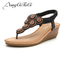 57639e5140fa04 DongCiTaCi Women Casual Wedge Sandals Gladiator Shoes Woman Bohemia String  bead Crystal Flip Flop Female Summer