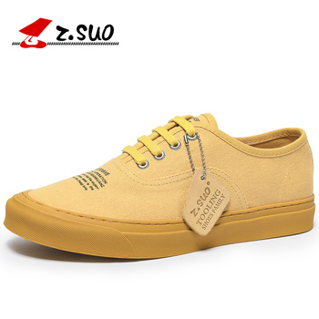 Z. Suo Brand New Summer Mens Canvas Shoes Casual Flats Shoes Fashion Men Lace Up Sneakers Shoes  Zapatillas Hombre Yellow
