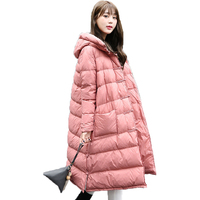 Vintage Women Loose Down Jacket 2017 New Winter Long Sleeve Hooded Casual A Line Long Down