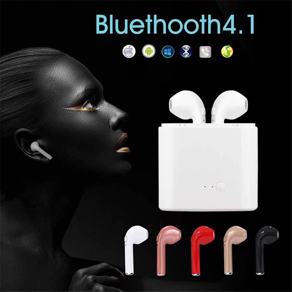Mini i7 bliźniaki Bluetooth słuchawki bezprzewodowe słuchawki douszne przenośny zestaw słuchawkowy słuchawka do telefonu zestaw głośnomówiący z mikrofonem dla telefonu z systemem Android iOS